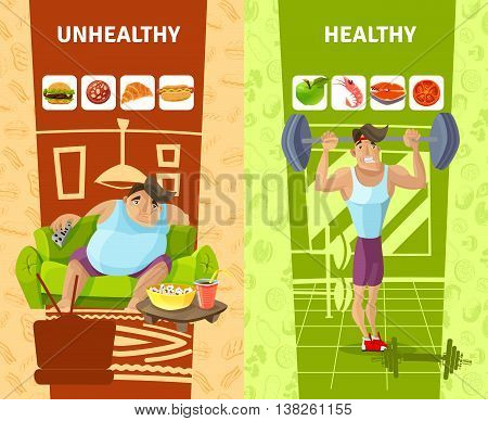 Healthy and unhealthy man vertical banners set cartoon isolated vector illustration