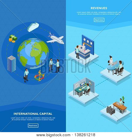 Vertical business banners with clerks at their workplaces and international capital concept isolated isometric vector illustration