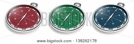 3D rendering of compasses with modern red green and blue scale isolated on white background
