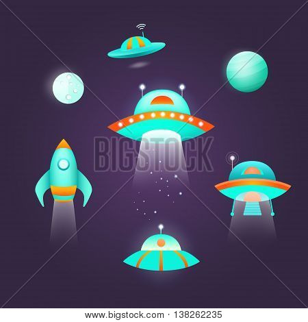 Space icon set. Collection of vector space objects: planet, ufo, rocket, moon, spaceship, alien. Symbols of universe and cosmos. Background for banners, invitation cards, web pages covers posters