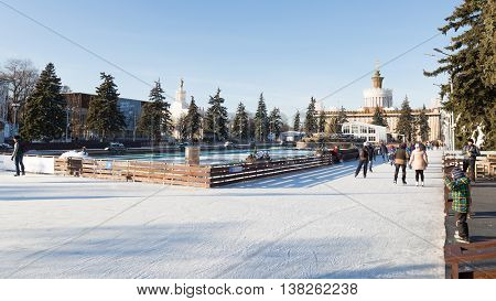 Moscow - November 28 2015: Lots of happy people relax and skate on the large outdoor skating rink in winter park ENEA 2016 November 28 2015 Moscow Russia