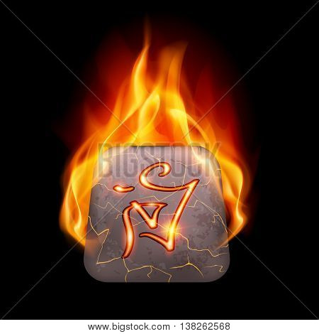 Mysterious ancient stone with magic rune in orange flame