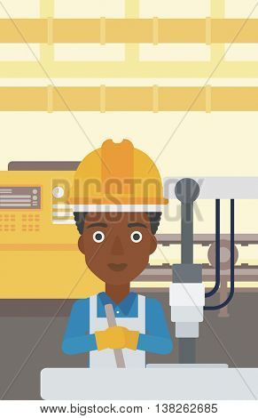 An african-american woman working on industrial drilling machine. Woman using drilling machine at manufactory. Metalworker drilling at workplace. Vector flat design illustration. Vertical layout.