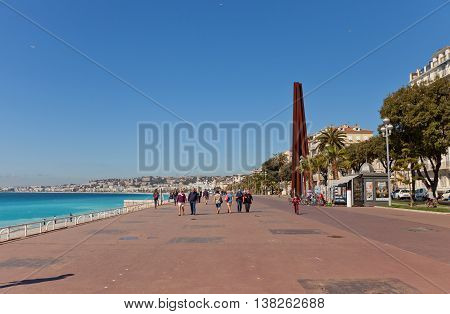 NICE FRANCE - APRIL 11 2016: Esplanade Quai des Etats-Unis in Nice France. Popular place of leisure for citizens and tourists