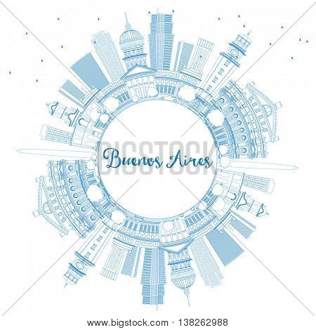 Outline Buenos Aires Skyline with Blue Landmarks and Copy Space.