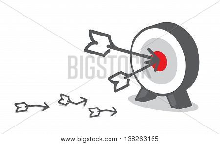 Vector : Arrow Hit Red Target At Dart Board, Business Concept, Goal Setting