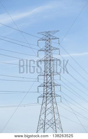 High voltage post for electric and distribution line  are stand in the blue sky background
