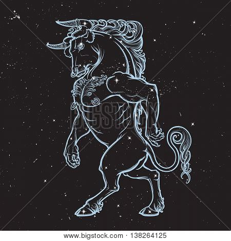 Minotaur ancient Greek mythical creature. Boho style look. Black nightsky background with stars. Zodiac sign. Astrology design. EPS10 vector illustration