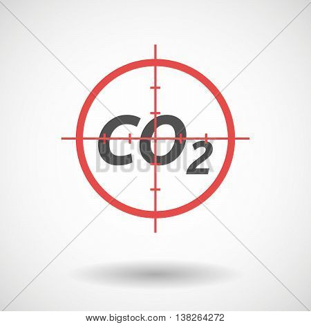 Isolated Red Crosshair Icon With    The Text Co2