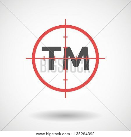 Isolated Red Crosshair Icon With    The Text Tm
