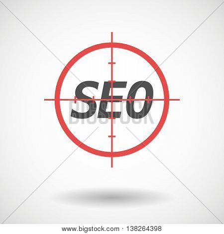 Isolated Red Crosshair Icon With    The Text Seo