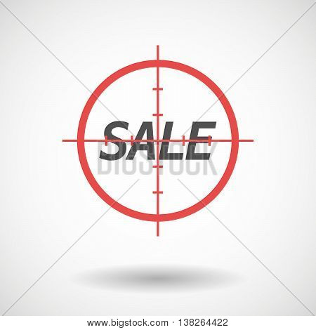 Isolated Red Crosshair Icon With    The Text Sale