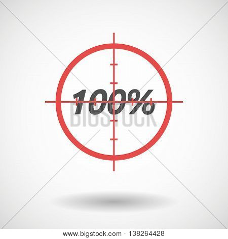 Isolated Red Crosshair Icon With    The Text 100%