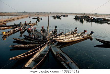 Hue, Vietnam, May 12, 2016 fishing boats moored, the Tam Giang Lagoon, Hue, Vietnam
