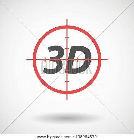 Isolated Red Crosshair Icon With    The Text 3D