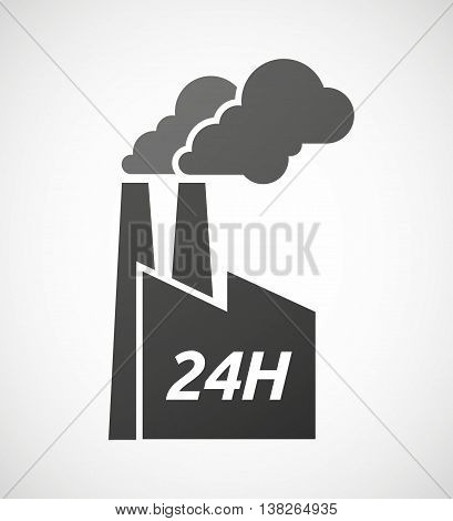 Isolated Industrial Factory Icon With    The Text 24H