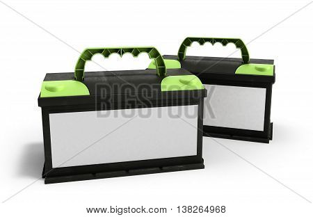 Battery Car Accumulators Auto Parts Electrical Supply Power 3D Illustration Isolated