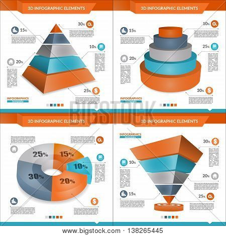 Set of 3D infographics pyramid and pie chart for your Business reports and financial data presentation. Orange and blue