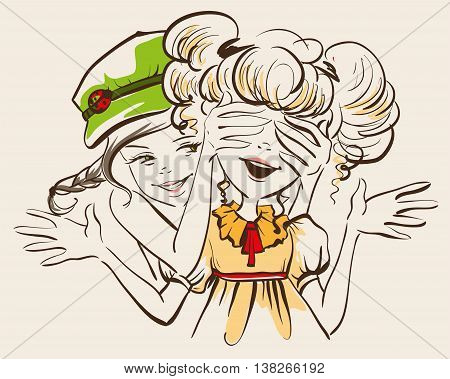 Girl closed her eyes hands friend. Guess who. Two girl friends. Vector fun cartoon illustration