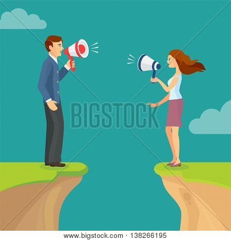 Abyss, Gap Concept With Man And Woman Shouting Trying To Sort Out Relations. Vector Colorful Illustr