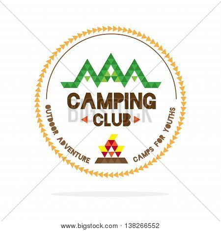 Vector : Youth Camping Club Logo With Mountain And Camp Fire In Polygon Style On White Background ,