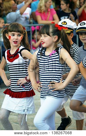 Montenegro, Herceg Novi - 04/06/2016: Schoolchildren in costume sailors. 10 International Children's Carnival