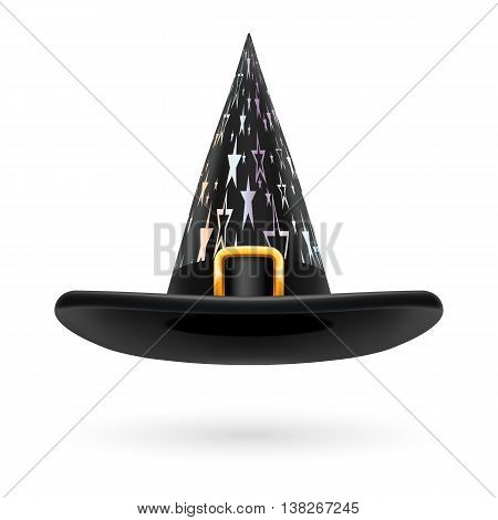 Black witch hat with golden buckle hatband and silver stars ornament