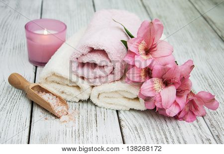 Spa Products With Alstroemeria Flowers