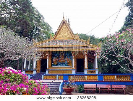 SOC TRANG, VIETNAM, December 15, 2015 Pagoda Roi, downtown Soc Trang, Vietnam, temples ethnic Cham