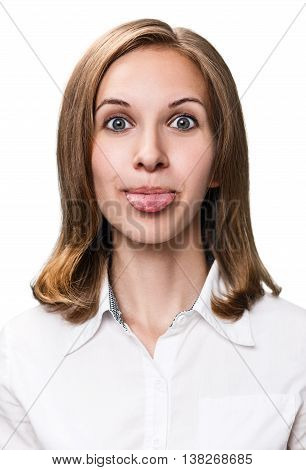 Young funny woman showing grimace with tongue isolated on white background