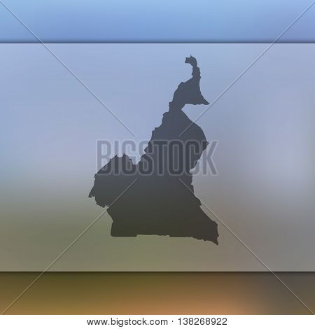 Cameroon map on blurred background. Blurred background with silhouette of Cameroon. Cameroon. Cameroon map.