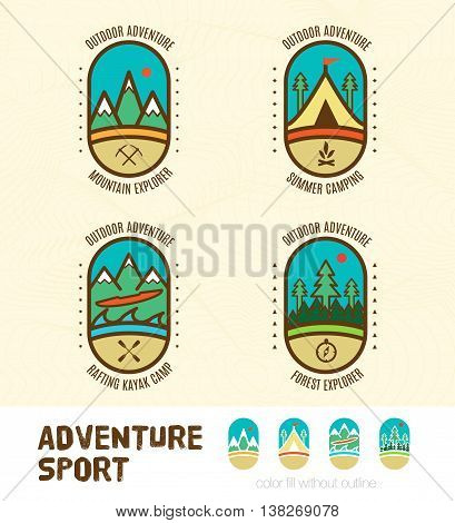 Vector : Sett Of Adventure Sport Logo Badges Include Mountain Explorer,summer Camping,kayak Camp,for