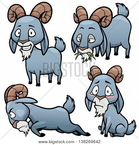 Vector illustration of Cartoon Goat Character Set