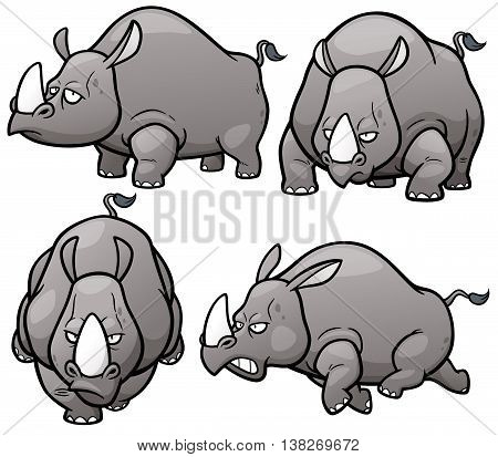 Vector illustration of Cartoon Rhinos Character Set