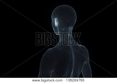 Female Human Wireframe Hologram in Motion. Nice 3D Rendering