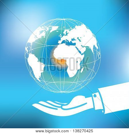 Vector : Global With Map Floating Over Business Man Hand On Abstract Blue Background