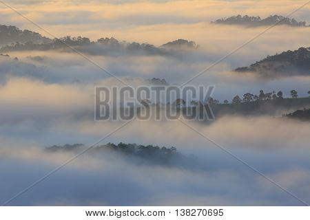 Amazing view of mountain, mist & cloud when dawn coming.