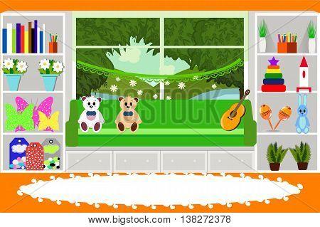 Kids bedroom, furniture, toys, musical instruments, vector illustration