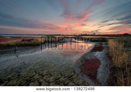 Sunset Atanasovsko lake where salt is prodused and Burgas
