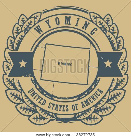 Grunge rubber stamp with name and map of Wyoming, USA, vector illustration