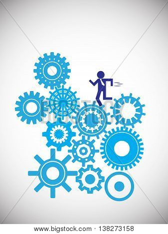 business man running on cogwheels cogwheel represents here different business challenges in corporate world also used an employee people running on challenges in life or job vector illustration