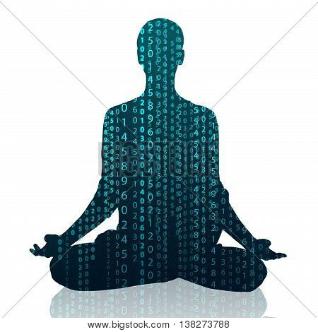 Matrix silhouette of young woman practicing yoga in the lotus position isolated on white
