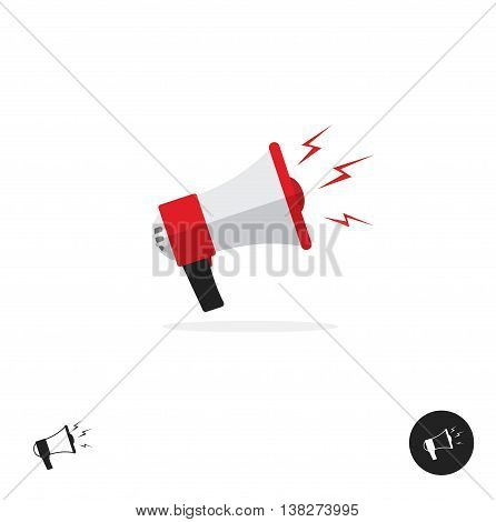 Bullhorn shout logo icon isolated on white background, news alert equipment yelling