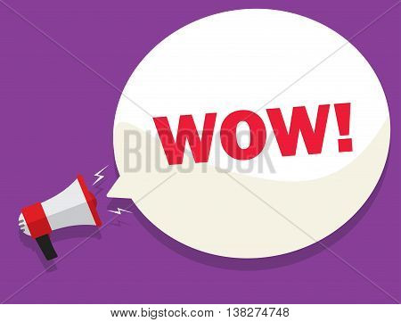 WOW message deal vector, sale promotion or discount sticker bullhorn, label, megaphone presentation poster. Flat style design.
