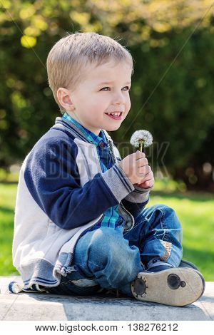 happy little boy holding a dandelion in the park