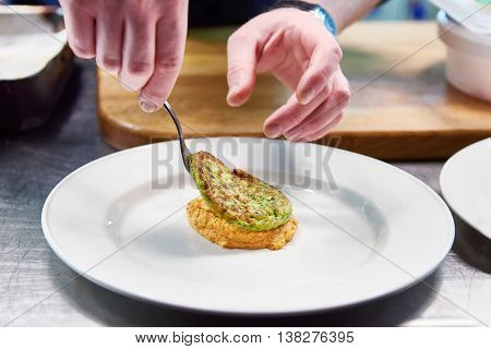 Cook Are Served At Dish With Vegetable Cutlet