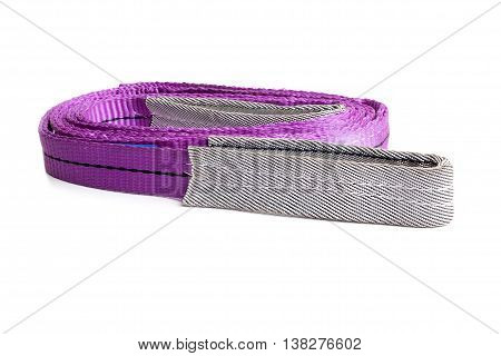 Webbing Sling Or Soft Sling For Heavy Load Lifting On White Background.