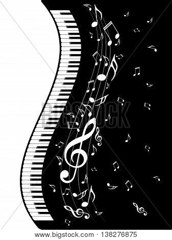 Piano Keyboard With Music Notes