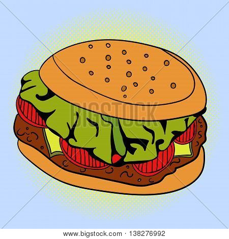 Sandwich Pop art vector illustration. Beautiful style comic. Hand-drawn burger