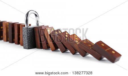 Lock blocked dominoes row, isolated on white